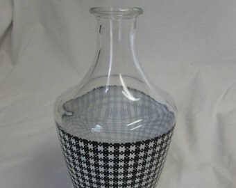 Vase, Clear Glass, Black and White Check Pattern, France