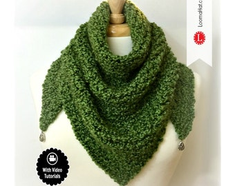 Loom Knitting Pattern Scarf Triangle Shawl Pattern EASY - Includes Video Tutorial