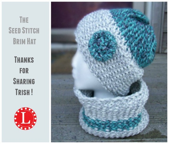 Knitting Patterns Step By Step : Loom Knitting PATTERNS Seed Stitch Brim Hat and Cowl / Scarf with Step by Ste...