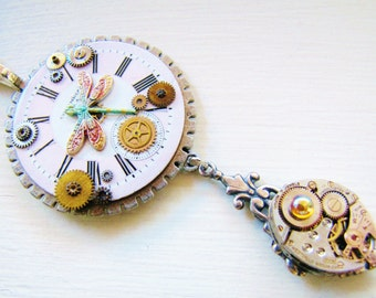 Steampunk Vintage Watch Dial & Dragonfly Pendant Necklace with Vintage Watch Movement PN35