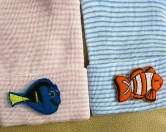 2 FISH Newborn Hospital Hats Twin Babies 1st Keepsakes! Newborn Hospital Beanies. Baby Hats! Cute! Great Gift. Clown Fish Blue Fish