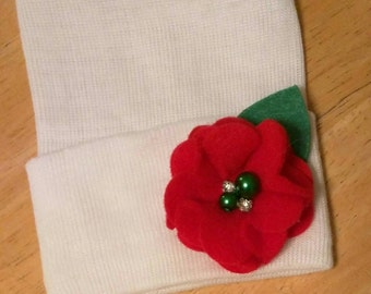 Newborn Hospital Hat! CHRISTMAS HOLIDAY hospital hat with a Red Flower with 2 Green Pearls and 2 Rhinestones! Baby's 1st Keepsake! Exclusive