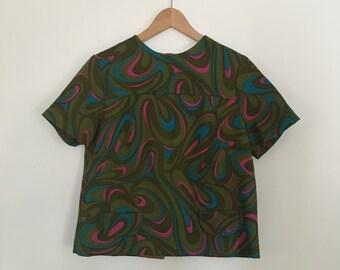 Vintage psychedelic print crop top