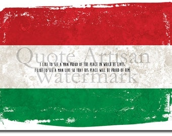 Hungarian Flag Motivational Print - National Pride Quote - Unique Photo Poster - Hungary