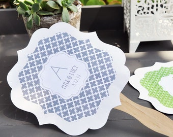 Personalized Paddle Fans, Pattern with Monogram (Set of 24)