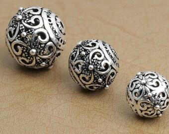 925 silver flower spacer bead thai sterling silver ball beads bless 10mm 13mm 15mm 18mm silver beads supply wholesale Y135