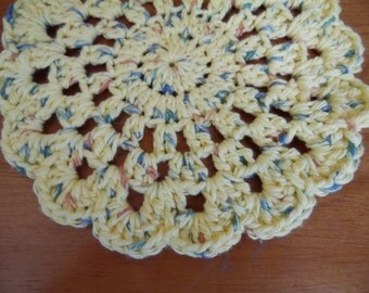 "Crochet Flower Dish Cloth, Dish Rag, Yellow 7"" Wash Cloth"