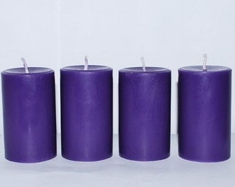 4 Scented candles - Pillar candles - homemade pillar candles - Red - blue - brown - pink - orange - lilac - coffee - ocean breeze -lavender