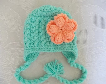 Baby girl earflap hat, newborn girl hat, mint green baby hat, crochet newborn hat, take home outfit, baby girl outfit, winter baby hat