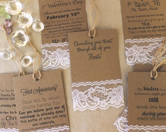 Wine Tags, Wedding Milestones, printed tags, poem, shower, gift, Marriage firsts, bride, groom, shabby chic, lace, Set of hanging tags