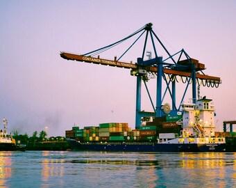 Photography on wood Hamburg, Containerhafen