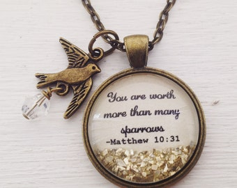 Bible verse necklace, Matthew 10:31 necklace, You are worth more than many sparrows, faith jewelry, scripture necklace, sparkle necklace