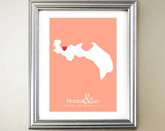 Beef Island Custom Vertical Heart Map Art - Personalized names, wedding gift, engagement, anniversary date