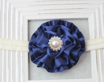Navy and ivory flower headband, navy blue headbands, navy elastic headband, navy blue girls headband, navy blue wedding headband