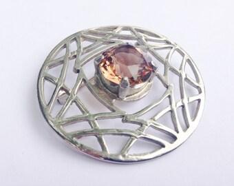 Vintage 1970's Celtic Brooch set with Smoked Topaz Swarovski Crystal