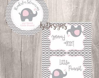 Elephant Favor Tags and Treat Bag Toppers, Grey and Pink Elephant Baby Shower Favor Tags, Instant Download, Little Peanut Printable Tags