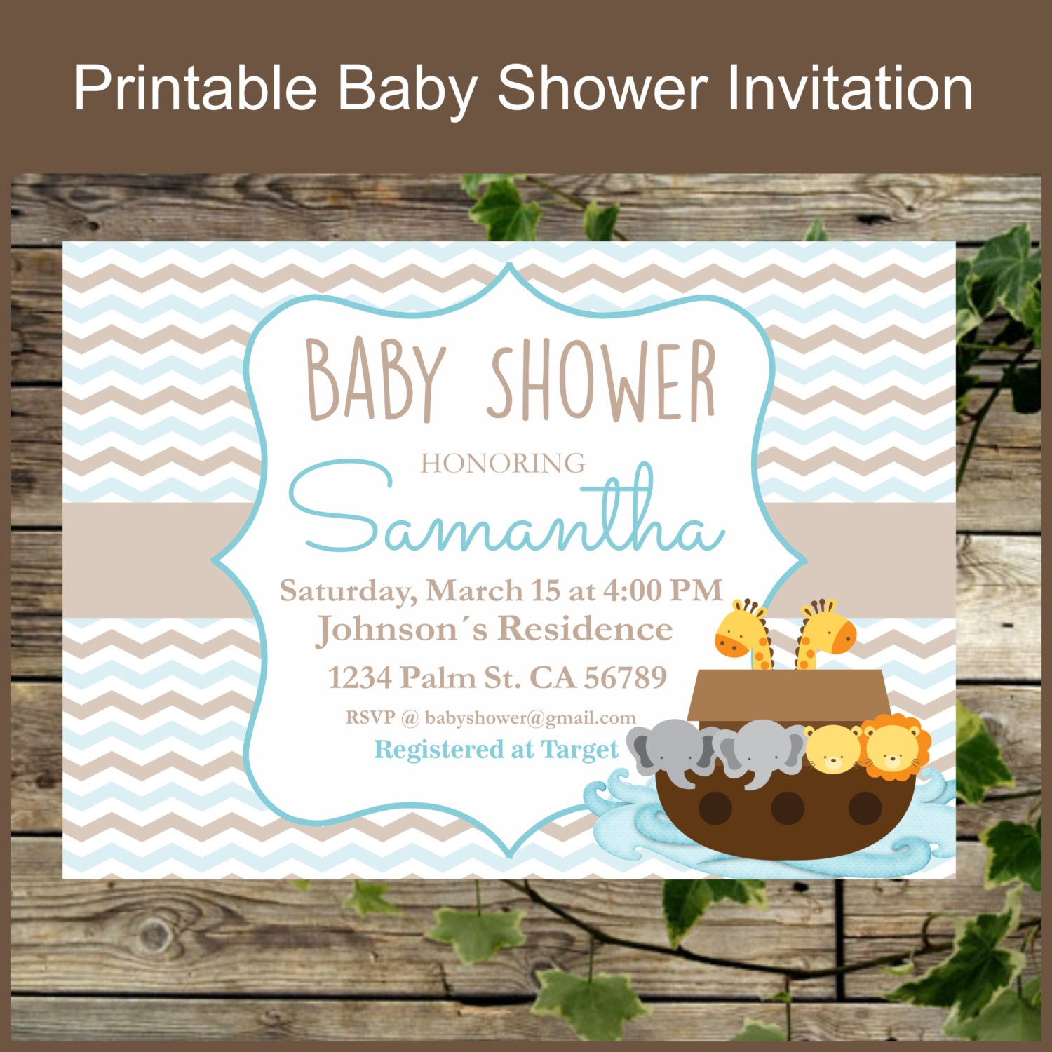 printable invitation noahs ark baby shower personalized