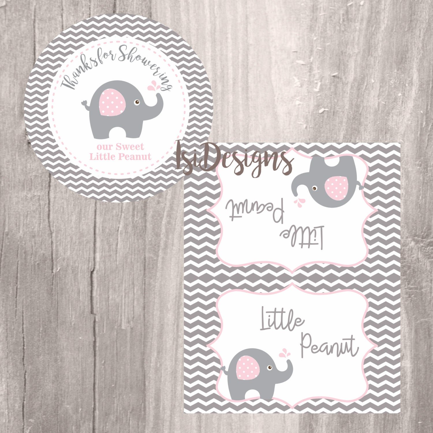 Elephant Favor Tags and Treat Bag Toppers Grey and Pink Elephant