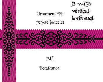 Peyote Pattern for bracelet: Ornament II - INSTANT DOWNLOAD pdf vertical and horizontal way