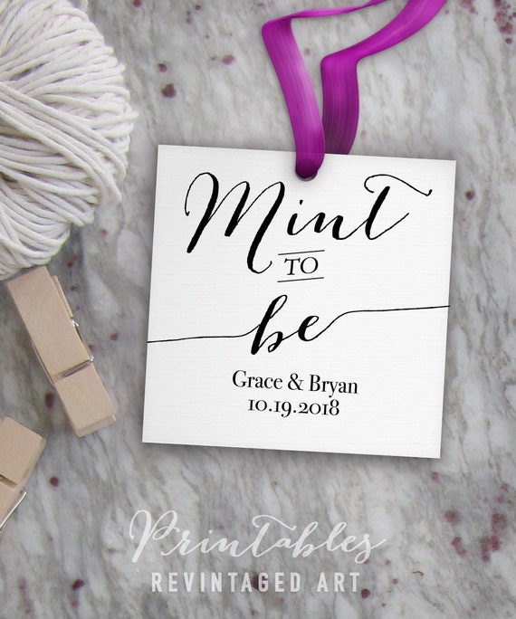 printable wedding tag template      editable mint to be tags