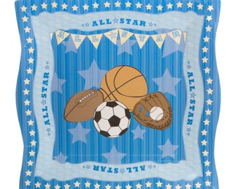 All Star Sports Dinner Plates - Baby Shower or Birthday Party Supplies - 8 Count