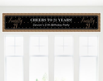 Finally 21 Girl - 21st Birthday Party Banner - Birthday Party Decorations