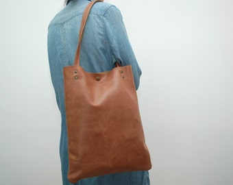 Waxed Leather tote  bag , hyacinth color