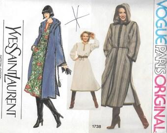 """Vintage 1970s Vogue Paris Original Pattern 1738- Yves Saint Laurent Misses' Coat, Blouse and Skirt size 10 bust 32"""" uncut"""