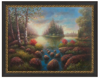 Hand Painted Classic Nature Art: Nature Oil Painting with Lake on Stretched Canvas (36x48) Stretched Only or  4 Frame Choices