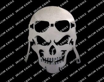 Motorcycle Skull #2 Helmet Goggles Biker Cafe Racer Bobber Metal Sign Emblem USA