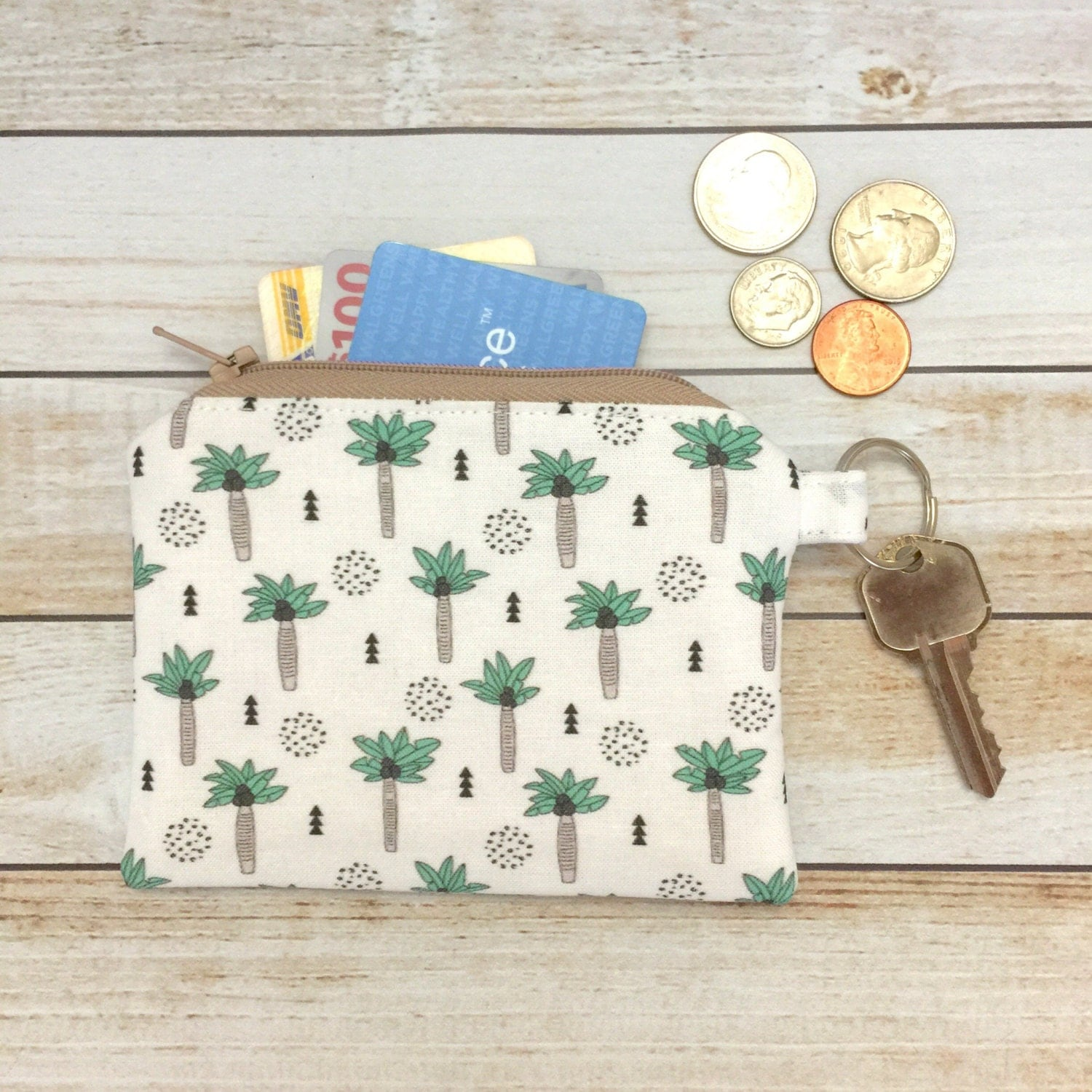 Palm Trees Coin Purse Keychain Zipper Coin Pouch Change and Card Wallet Party Favor Bridal Gift