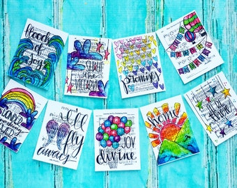 Christian Journaling Cards 3x4 Southern Gospel Pocket Pages Letters Print Hymn Fine Art Hymnal Project Watercolor Sheet Music Life