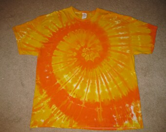 tie dye yellow orange spiral t-shirt