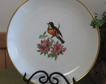 Schumann Chop Plate Bird on Flower A Robin on Single Flower Bavaria Arzberg Germany Gold Crown