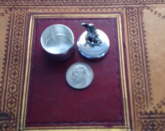 Sterling Silver Pill Box with Rabbit and Heart