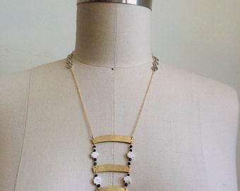 3 bar brass fringe necklace