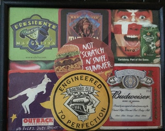 New-framed art, Collage of Restaurant, Bar, Drink Coasters-free shipping USA