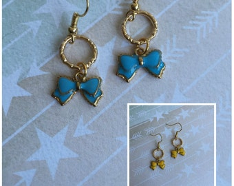 Gold Hoop with Blue or Yellow Bow Charm Earrings - Ready to Ship