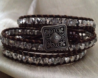 """4 Wrap Bracelet Espresso Brown Leather and Silver Glass Beads 6"""" Wrists Square Button"""