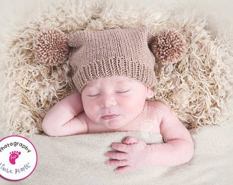 Mocha brown hand knitted baby hat with two pompoms, unique and cute hat for newborn, knit hat with two pom poms, photo prop