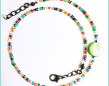 Wrap Rainbow Ankle chain with a green apple mother-of-pearl. For girls, women and men. Transparent glass pearls. Custom made home.