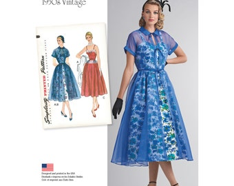 Simplicity Sewing Pattern 8252 Misses' Vintage 1950's Dress and Redingote