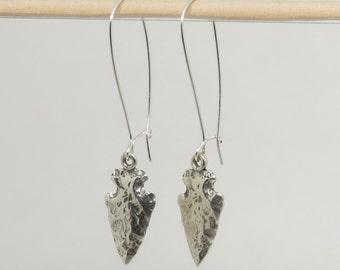 Sterling Silver Arrowhead Earrings, Arrowhead Dangles, Silver Kidneywire Earrings, Long Silver Earrings