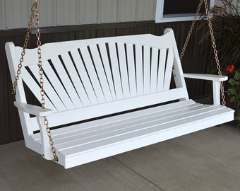 Yellow Pine Fanback 5ft. Outdoor Porch Swing