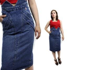 Denim skirt, Blue denim skirt, High waist skirt, Jeans skirt, High waisted skirt, Vintage skirt, 80s skirt, Long jeans skirt / XS  Small