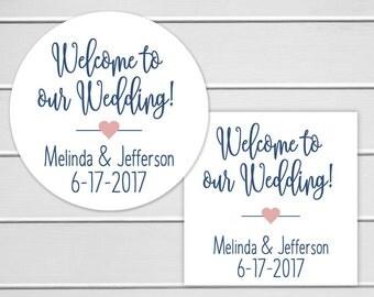 Welcome Sticker, Welcome Wedding Sticker, Destination Wedding Sticker, Personalized Wedding Label (#219)