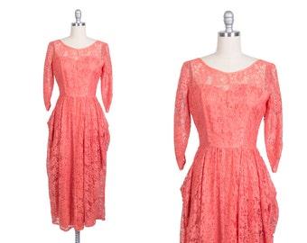 Vintage 1950s dress // 50s pink lace dress // 50s party dress