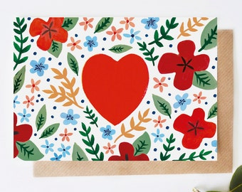Folk Heart Greeting Card