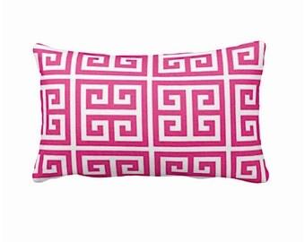 Hot Pink Pillow Covers Pink Throw Pillow Cover Greek Key Pillows Pink Lumbar Pillows Decorative Pillows 12x20 Pillows 12x18 Pillows