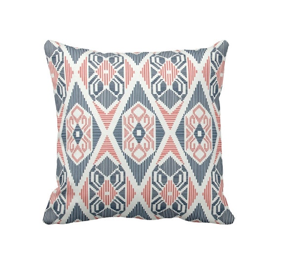Coral Pillow Cover Navy Pillow Cover Coral Throw Pillow Cover